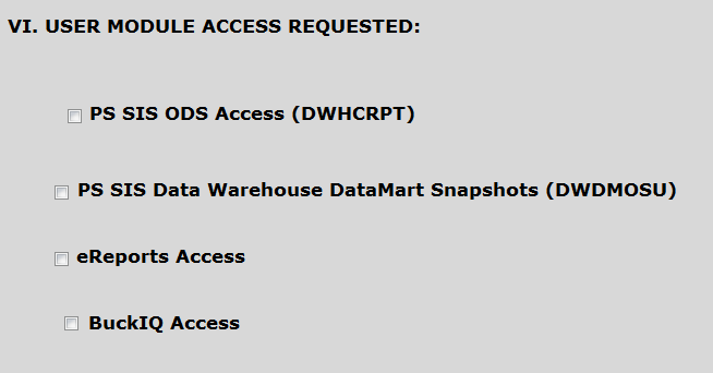 User Module Access options